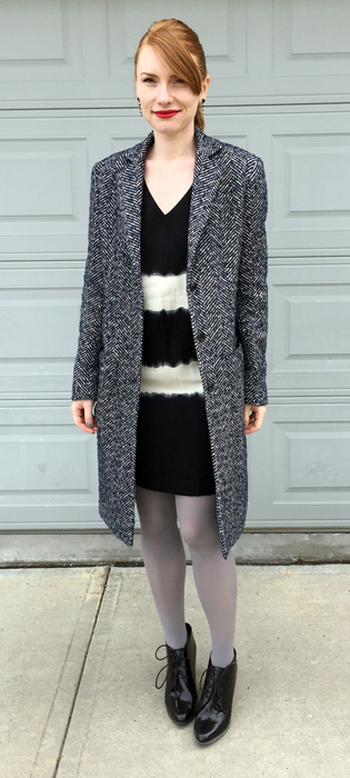 Coat, Gianni Ferraud (thrifted); dress, Floreat (thrifted); boots, Clark's