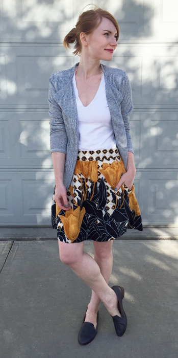 Blazer, Saturday Sunday (thrifted); top, James Perse; skirt, Anthropologie (thrifted); shoes, Kelsi Dagger (thrifted)