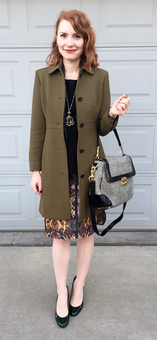 Coat, J. Crew (thrifted); bag, Rebecca Minkoff (swap)