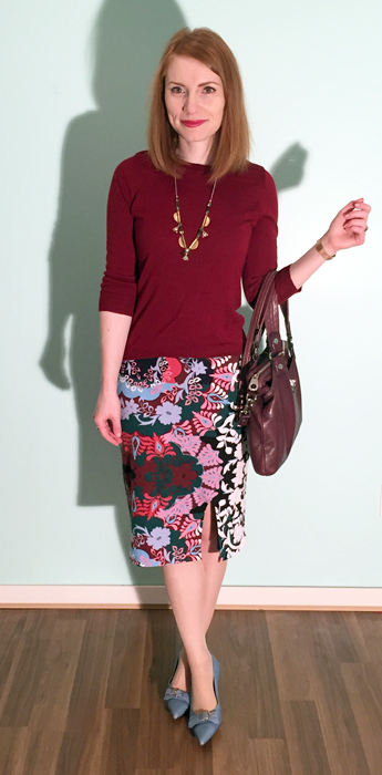 Skirt, Maeve (thrifted); sweater, J. Crew Factory; necklace, J. Crew; shoes, Ferragamo (thrifted); bag, MbMJ