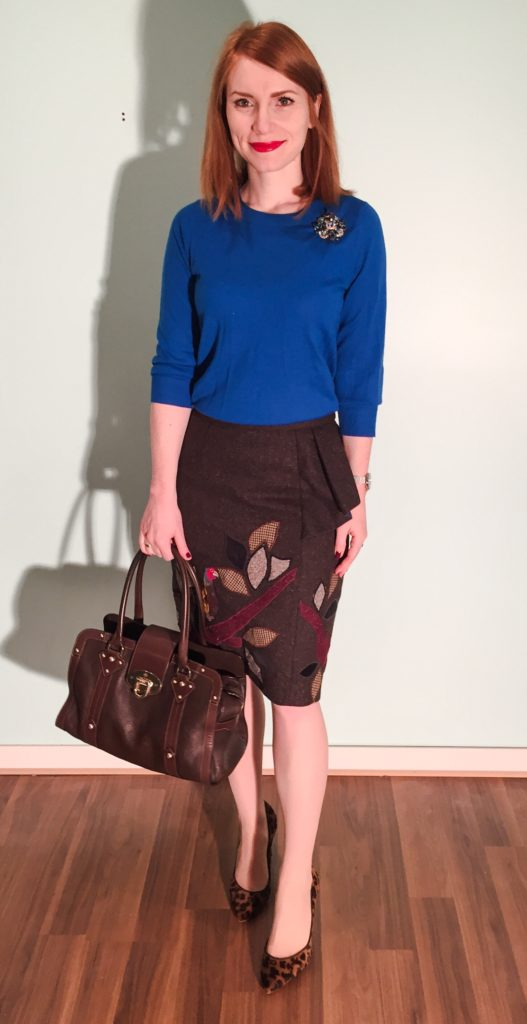 Skirt, Anthropologie (via eBay); sweater, J. Crew Factory; brooch, vintage; shoes, J. Crew (thrifted); bag, Mulberry