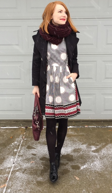 Dress, Anthropologie (thrifted); trench, Elie Tahari (thrifted); boots, Clarks; scarf, Aldo; bag, MbMJ