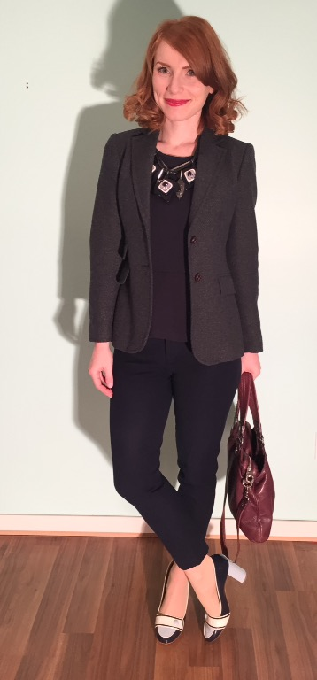 Blazer, J. Crew Factory; top, J.Crew (thrifted); pants, Banana Republic (thrifted); shoes; Ferragamo (thrifted); necklace, MaxMara; bag, MbMJ