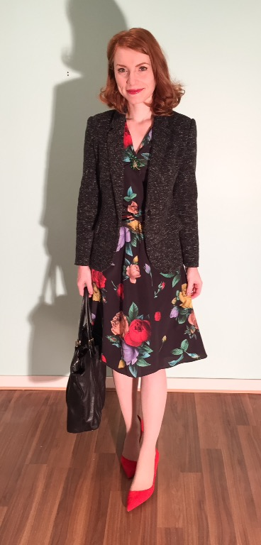 Dress, Moschino; blazer, Cartonnier (thrifted); shoes, J. Crew; bag, Gucci (via consignment)