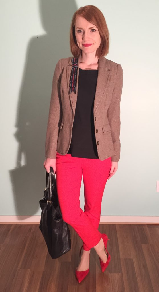 Blazer, Cartonnier (swap); top, Theory (thrifted); pants, J. Crew (thrifted); shoes, J. Crew; bag, Gucci