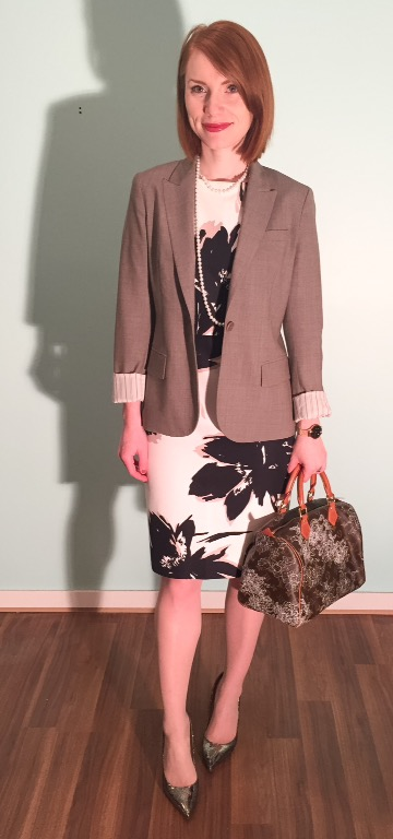 Dress, MaxMara (thrifted); blazer, Theory (thrifted); necklace, swap; bag, Louis Vuitton