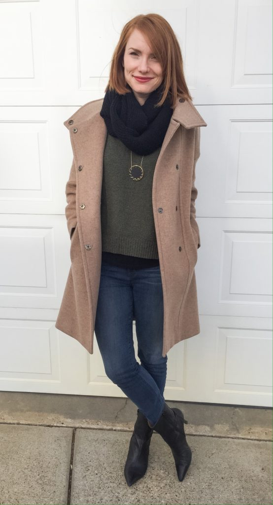 Coat, MaxMara; sweater, Madewell (thrifted); scarf, Joe Fresh; jeans, J Brand (thrifted); boots, Nine West (thrifted)