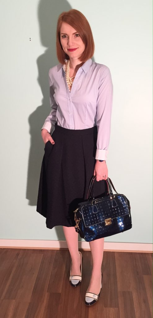 Skirt, Zara; shirt, H&M (swap); pearls, J. Crew Factory; shoes, Ferragamo (thrifted); bag, Arcadia