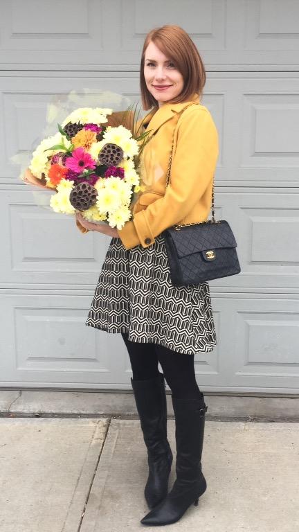 Jacket, Cartonnier (thrifted_; dress, Leifsdottir (thrifted); boots, Bandolino (thrifted); bag, Chanel (via consignment)