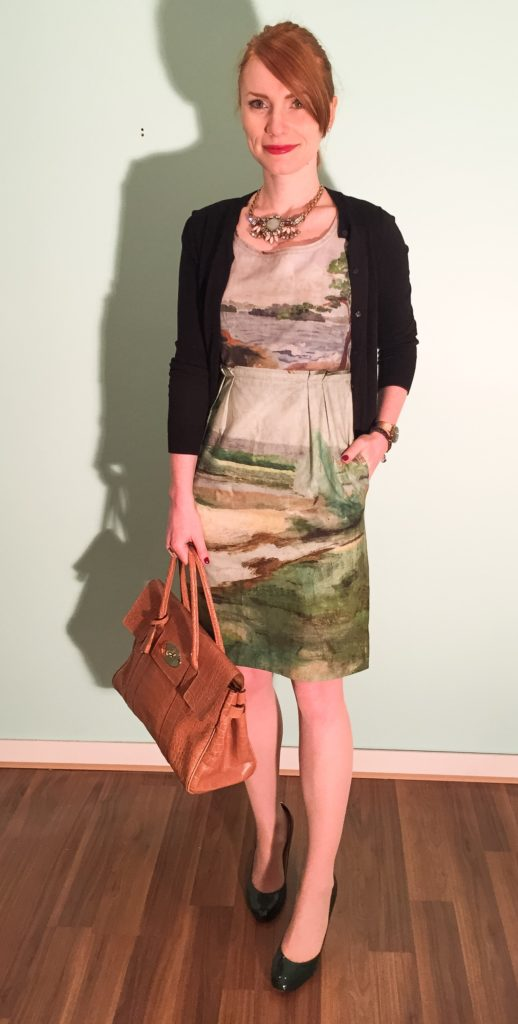 Dress, Anthropologie (via eBay); cardigan & necklace, J. Crew Factory; bag, Mulberry (via consignment)