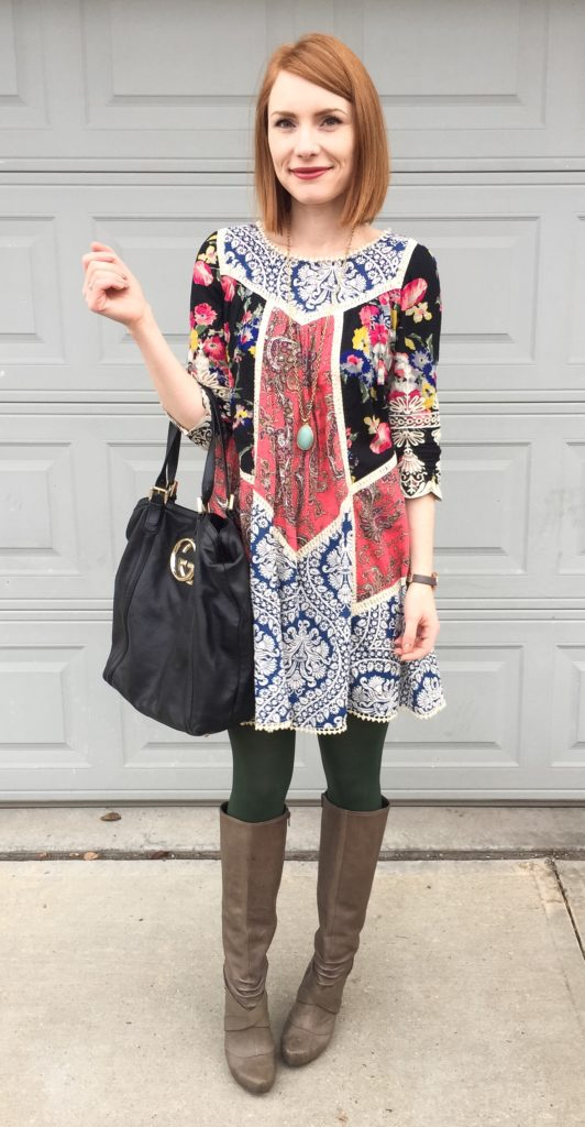 Dress, Anthropologie (thrifted); boots, Seychelles (thrifted); necklace, Stella & Dot (thrifted); bag, Gucci (via consignment)