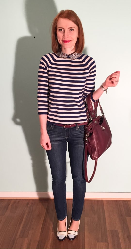 Sweater, J. Crew (thrifted); jeans, Paige (thrifted); shoes, Ferragamo (thrifted); bag, MbMJ