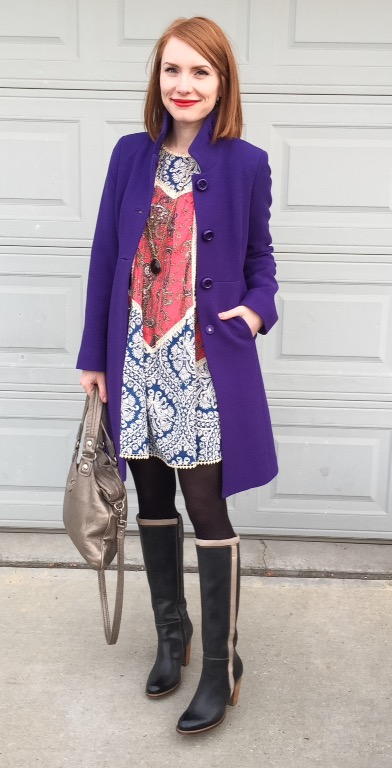 Dress, Anthropologie (thrifted); coat, J. Crew (swap); necklace, Stella & Dot (thrifted); boots, Hush Puppies (thrifted); bag, MbMJ