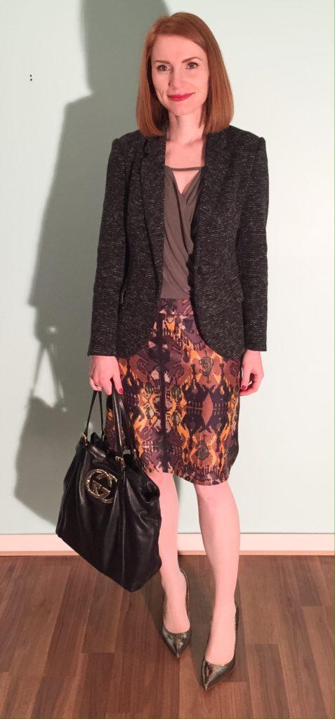 Blazer, Cartonnier (thrifted); top, Deletta (thrifted); skirt, Boss (thrifted); bag, Gucci