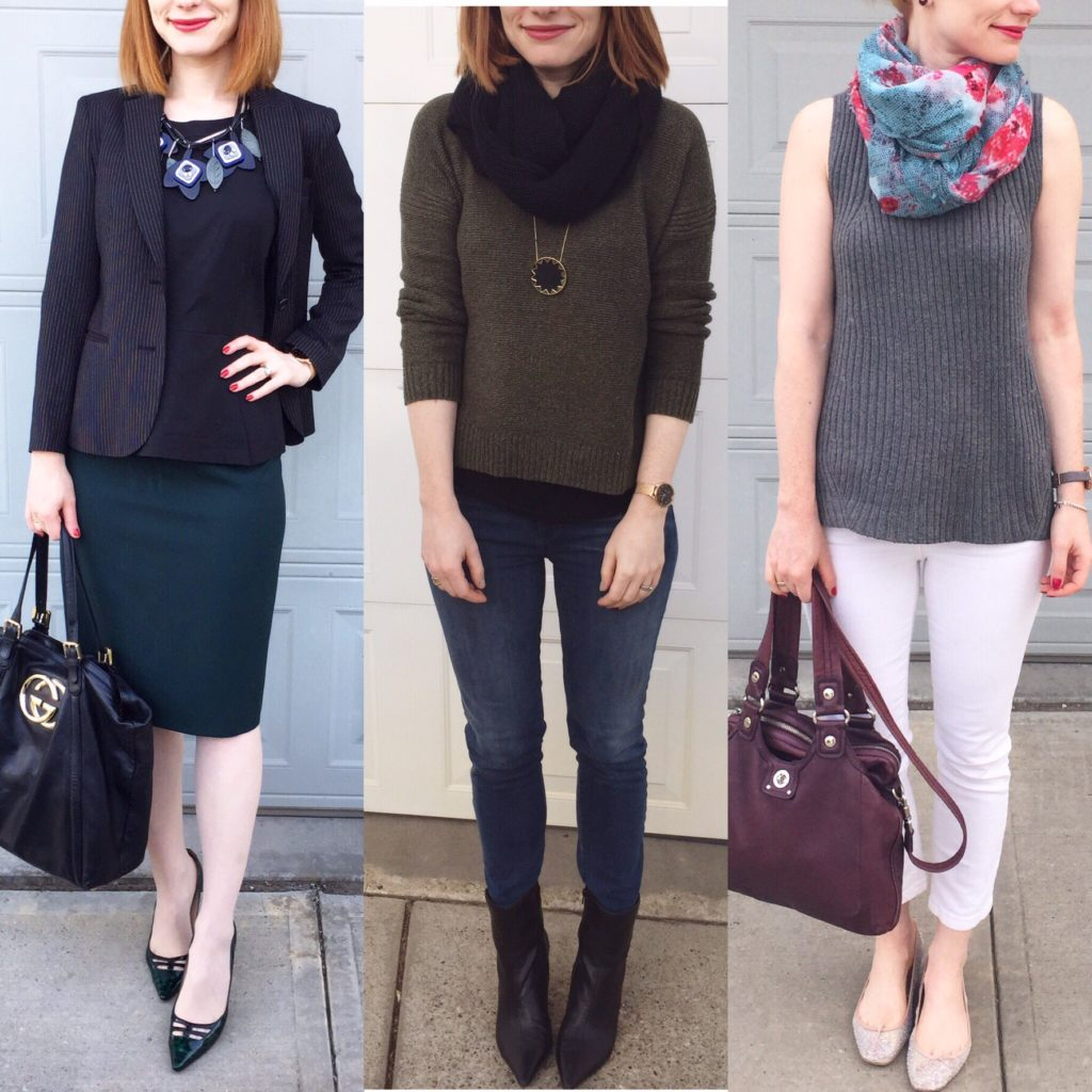 L to R: Theory top (thrifted); Madewell sweater (thrifted); Pilcro jeans (thrifted)