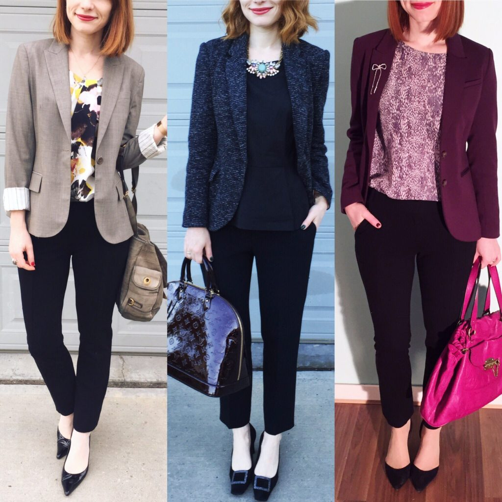 L to R: Theory blazer (thrifted); Cartonnier blazer (thrifted); H&M blazer (thrifted)