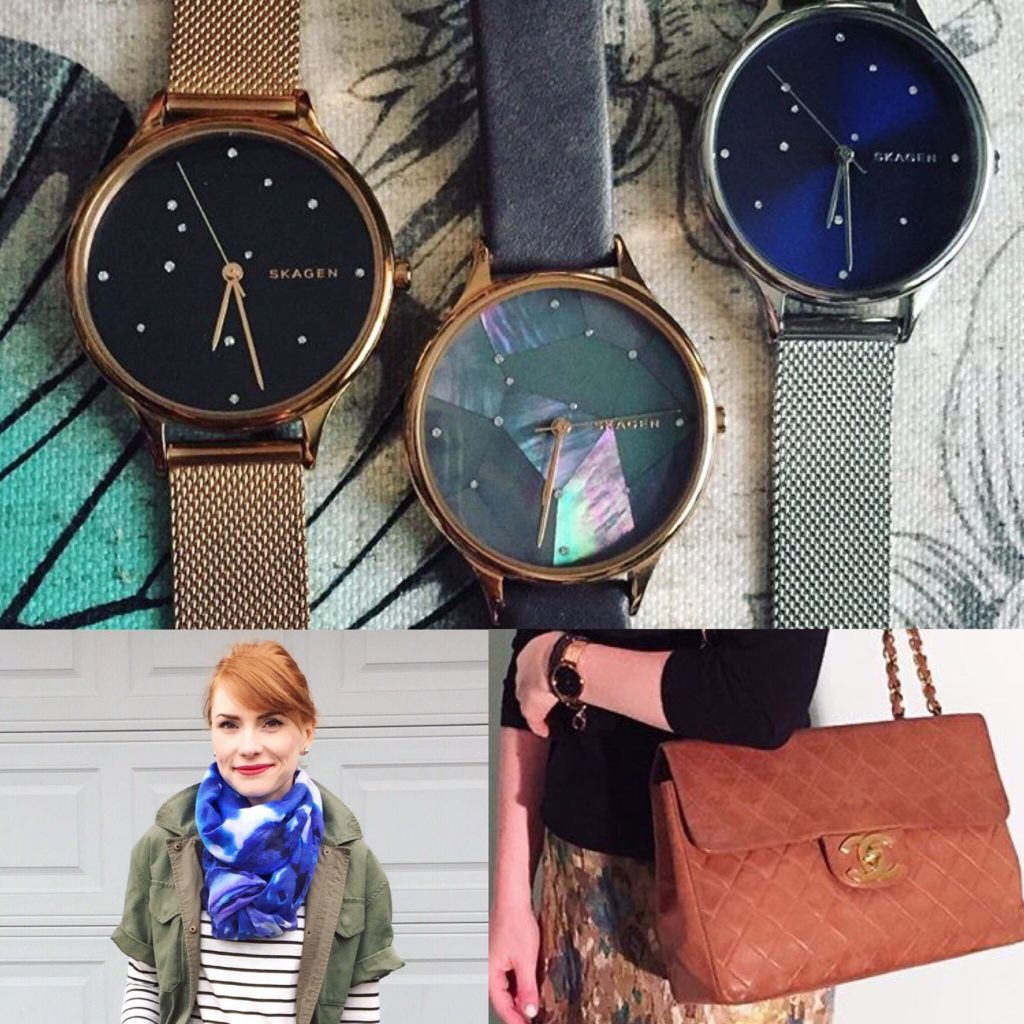 Top row: Skagen watches; Bottom row: 14Th & Union scarf (thrifted); Chanel bag (via Swish)