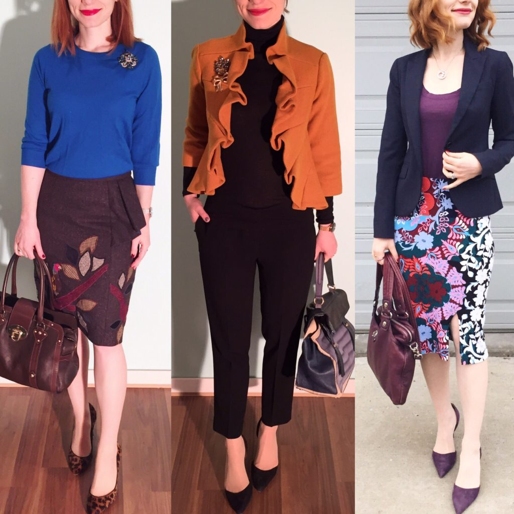 L to R: Floreat skirt (via eBay); T Babaton pants (thrifted); Maeve skirt (thrifted)
