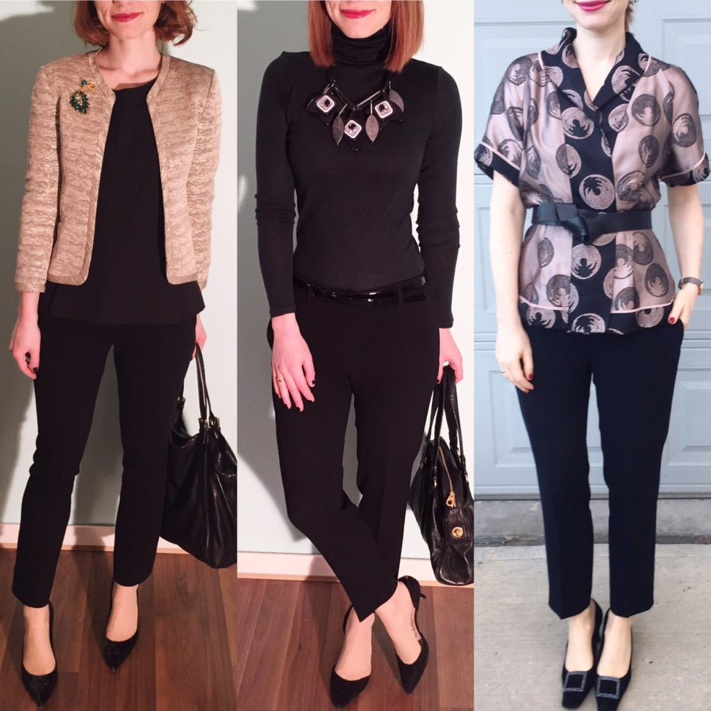 L to R: Wilfred jacket (thrifted); Club Monaco turtleneck; BCBG jacket (thrifted)