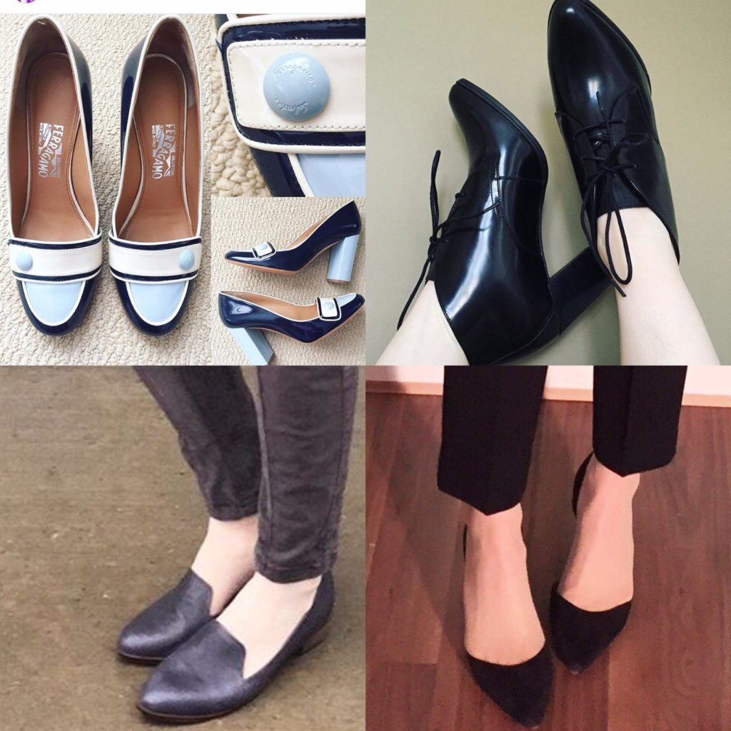 Clockwise from top left: Ferragamo pumps (thrifted); Clarks booties; Sam Edelman pumps (thrifted); Kelsi Dagger loafers (thrifted)