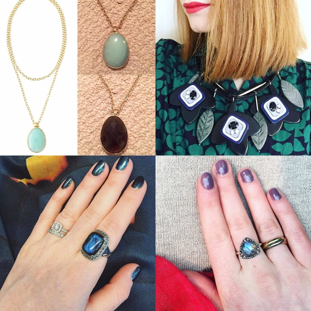 Clockwise from top left: Stella & Dot necklace (thrifted); MaxMara necklace; Alexandra Leigh ring; Winners ring