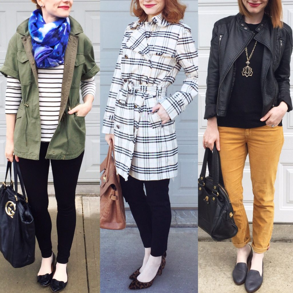 L to R: Club Monaco jacket (thrifted); Burberry trench (thrifted); Joe Fresh jacket (thrifted)