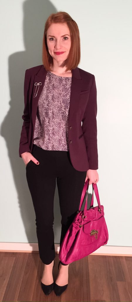Blazer, H&M (thrifted); top, Rebecca Taylor (thrifted); pants, DVF (thrifted); shoes, Sam Edelman (thrifted); bag, Mulberry (via eBay)