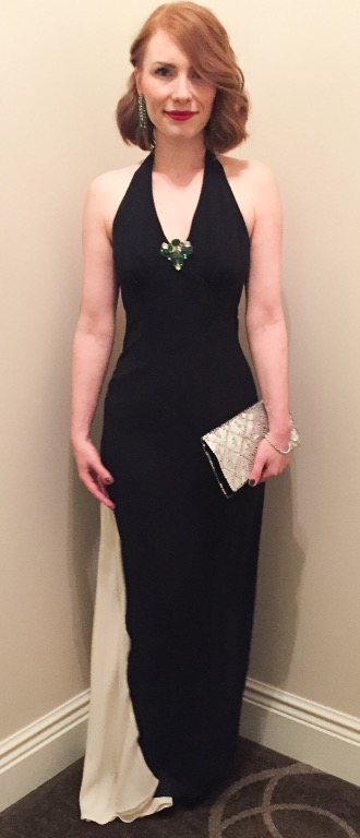Dress, Nicole Miller (thrifted); shoes, Louboutin (thrifted); brooch, vintage (via eBay); earrings, vintage (via consignment); clutch, vintage (via grandma)
