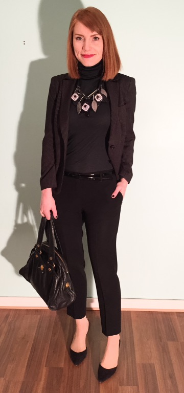 Blazer, DKNY (thrifted); sweater, Club Monaco; pants, DVF (thrifted); necklace, MaxMara; shoes, Sam Edelman (thrifted); bag, MbMJ
