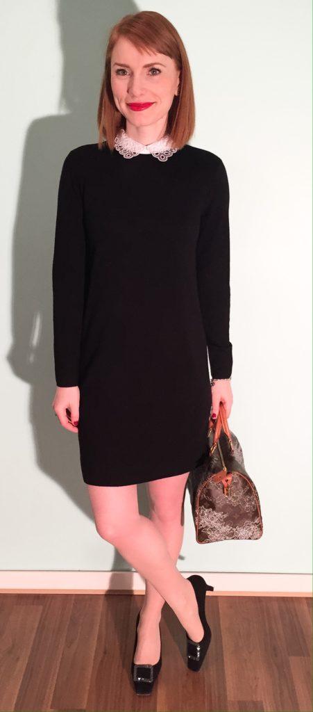 Dress, Club Monaco; shoes, Stuart Weitzman (thrifted); bag, Louis Vuitton