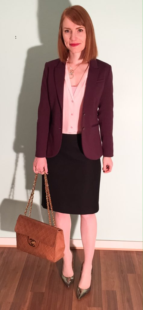 Blazer, H&M (thrifted); blouse, Equipment (thrifted); skirt, J. Crew (via consignment); bag, Chanel