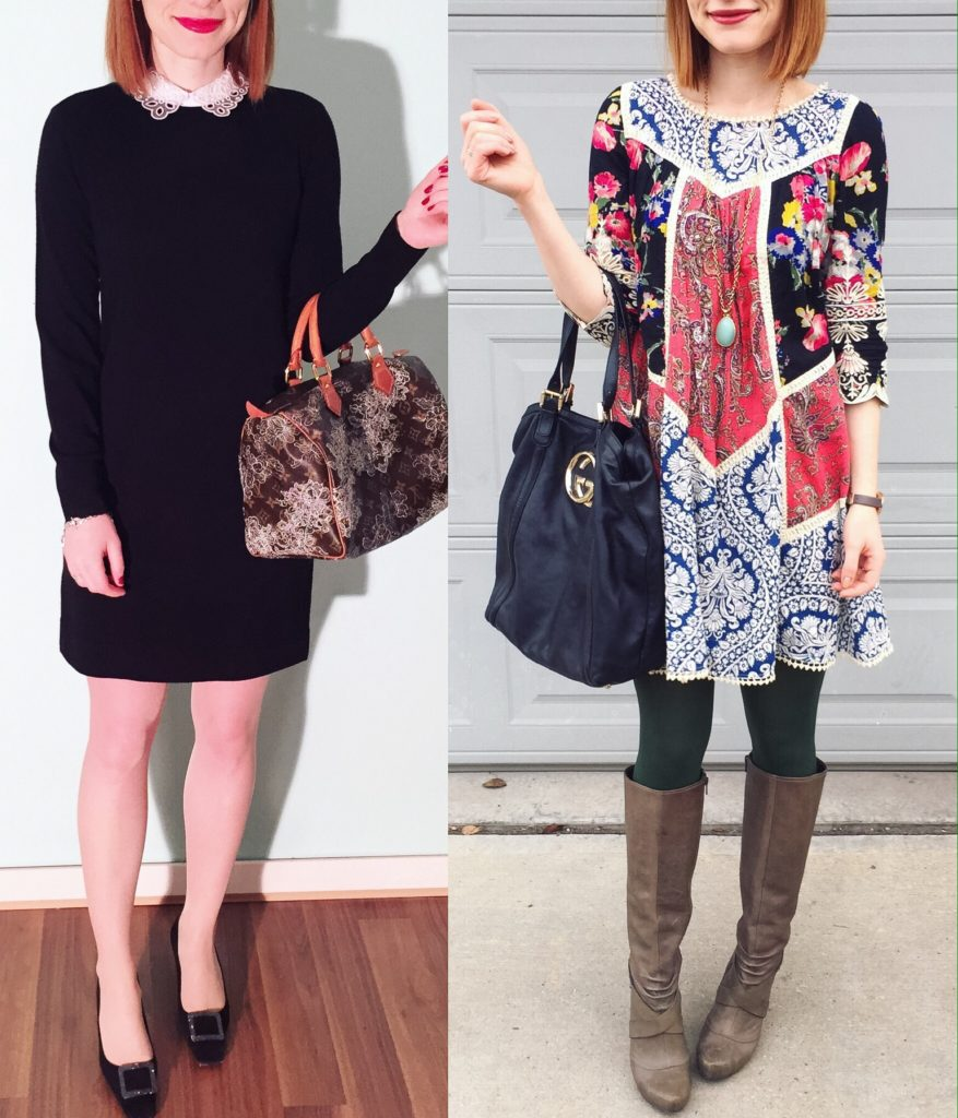 L to R: Club Monaco dress; Vanessa Virginia dress (thrifted)