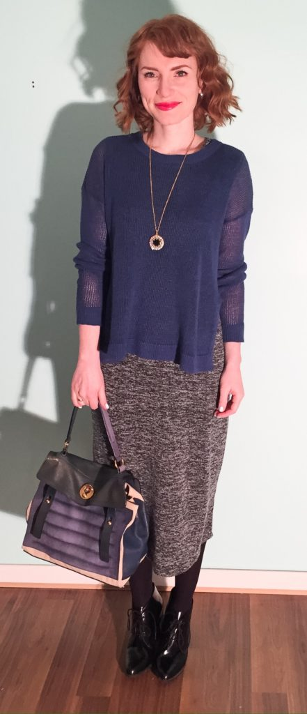 Dress, Joe Fresh; sweater, Eileen Fisher (thrifted); necklace, J. Crew Factory; shoes, Clarks; bag, YSL