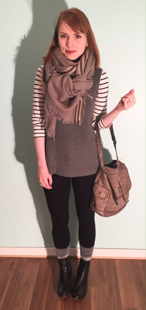 Top, J. Crew Factory; sweater, Joe Fresh; pants, Joe's jeans (thrifted); scarf, thrifted; boots, Frye; bag, YSL (via eBay)