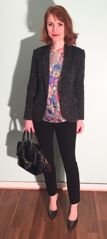 Blazer, Anthropologie (thrifted); top, Nanette Lepore (thrifted); necklace, Stella & Dot (thrifted); pants, DVF (thrifted); bag, Arcadia (via eBay)