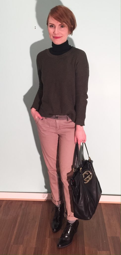 Sweater, Madewell (thrifted); turtleneck, Club Monaco; pants, Pilcro (thrifted); shoes, Clarks; bag, Gucci (via consignment)