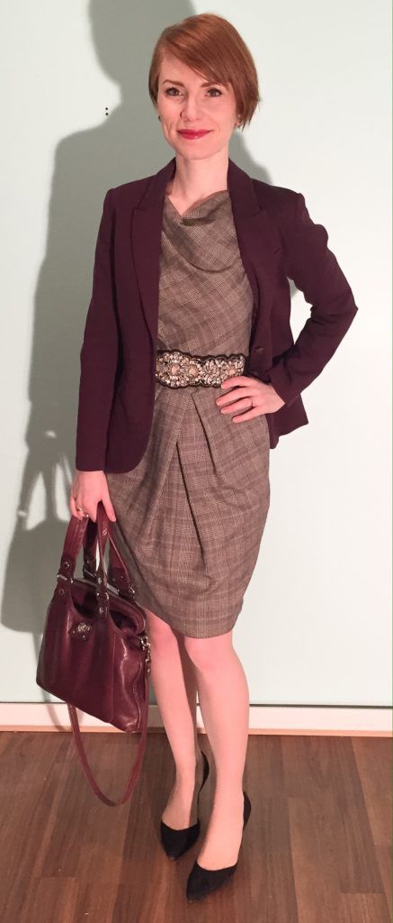 Dress, Lida Baday (thrifted); blazer, H&M (thrifted); belt, Anthropologie; shoes, Sam Edelman (thrifted); bag, MbMJ
