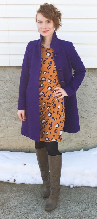 Coat, J. Crew (swap); dress, Target (thrifted); boots, Seychelles (thrifted)
