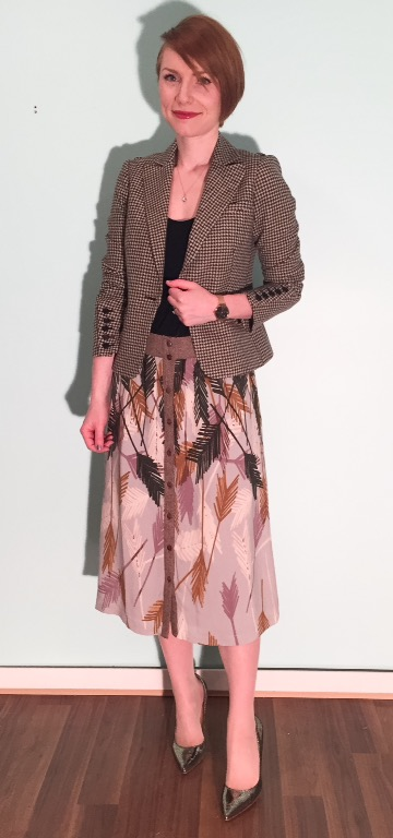 Blazer, Ted Baker (thrifted); top, Gap (thrifted); skirt, Anthropologie (via eBay)