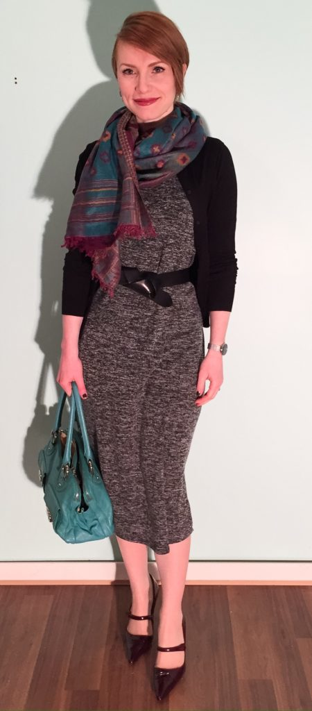 Dress, Joe Fresh; cardigan, J. Crew factory; belt, H&M; scarf, Winners; bag, Marc Jacobs; shoes, Manolo Blahnik