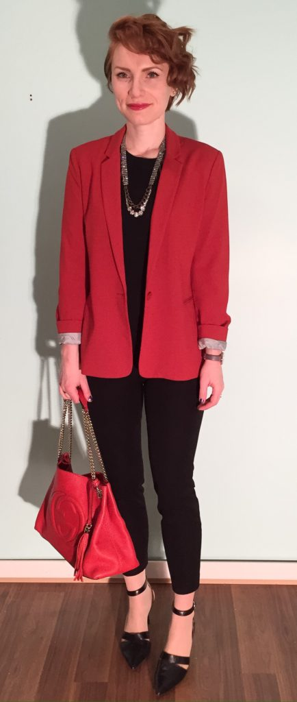 Blazer, Banana Republic (thrifted); sweater, J. Crew Factory; pants, J. Crew (thrifted); necklace, J. Crew (thrifted); shoes, Nine West; bag, Gucci