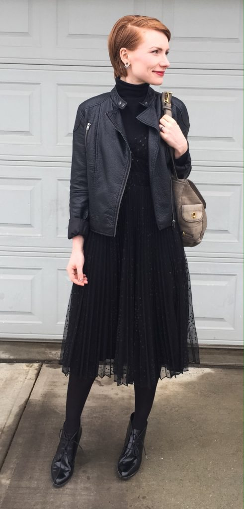 Dress, Betsey Johnson (thrifted); turtleneck, Club Monaco; jacket, Joe Fresh (thrifted); bag, YSL; shoes, Clarks