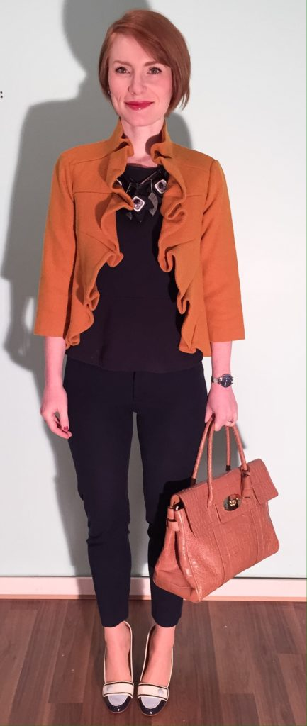 Jacket, Anthro (via eBay); top, J. Crew (thrifted); pants, BR (thrifted); shoes, Ferragamo (thrifted); necklace, MaxMara; bag, Mulberry