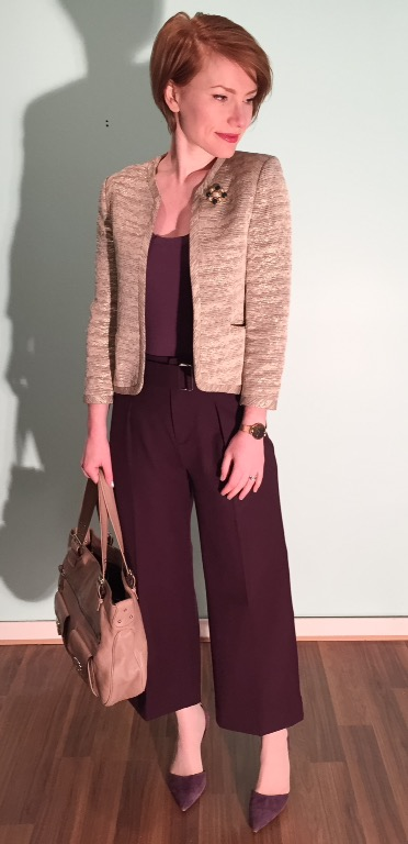 Jacket, Wilfred (thrifted); top, Theory (thrifted); pants, Club Monaco; shoes, J. Crew; bag, Marc Jacobs