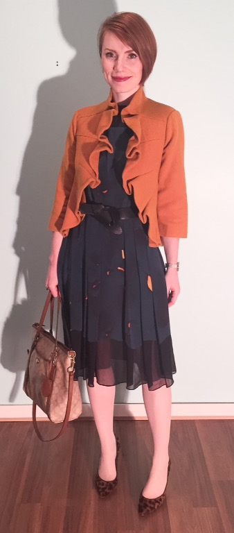 Dress, Phillip Lim; coat, Anthropologie (via eBay); shoes, J. Crew (thrifted); bag, Coach (swap)