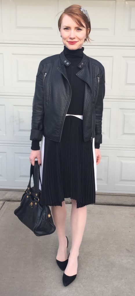 Dress, Vanessa Bruno (via consignment); jacket, Joe Fresh (thrifted); shoes, Sam Edelman (thrifted); turtleneck, Club Monaco; bag, MbMJ (via eBay)