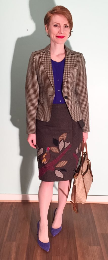 Blazer, ted Baker (thrifted); top, Aritzia (thrifted); skirt, Anthropologie (via eBay); shoes, J. Crew (via consignment); bag, Coach (swap)
