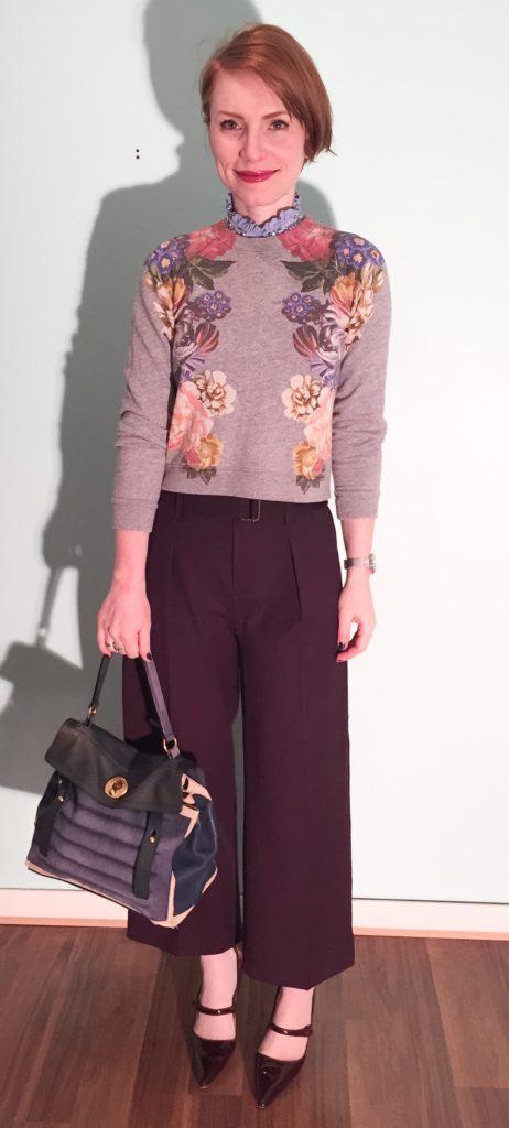 Sweatshirt, J. Crew; top, J. Crew factory; pants, Club Monaco; shoes, Manolo Blahnik (via eBay); bag, YSL (via eBay)