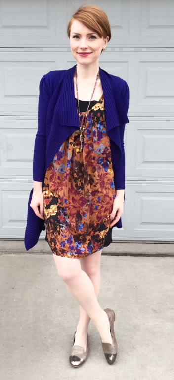 Dress, Maeve (via consignment); sweater, DVF (thrifted); shoes, AGL (via consignment)