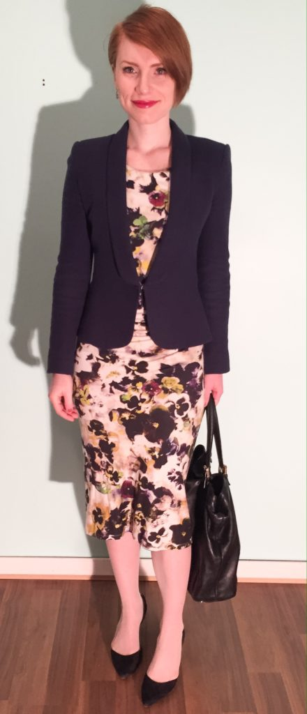 Dress, Paul Smith (via consignment); blazer, Zara (swap); shoes, Sam Edelman (thrifted); bag, Gucci (via consignment)